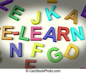 elearn, γραμμένος , μέσα , με πολλά χρώματα , πλαστικός , μικρόκοσμος , γράμματα