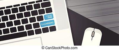 elearning, キー, 上に, ラップトップ・コンピュータ, キーボード, オンラインの教育, 概念, 横, 旗