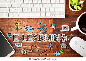 Elearning concept with workstation on a wooden desk