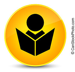 Elearning icon elegant yellow round button