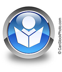 Elearning icon glossy blue round button