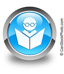 Elearning icon glossy cyan blue round button