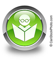 Elearning icon glossy green round button