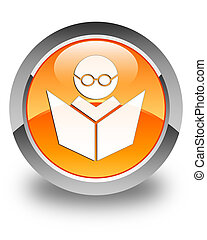 Elearning icon glossy orange round button