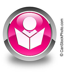 Elearning icon glossy pink round button