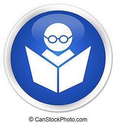 Elearning icon premium blue round button