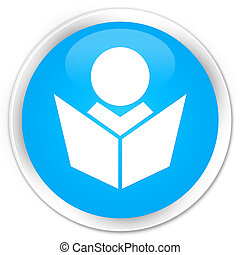 Elearning icon premium cyan blue round button