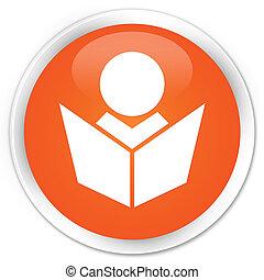Elearning icon premium orange round button