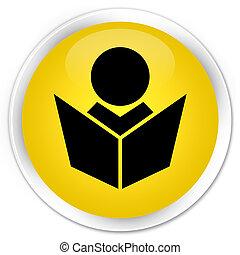 Elearning icon premium yellow round button