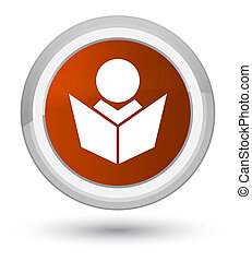 Elearning icon prime brown round button