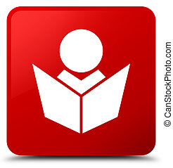 Elearning icon red square button
