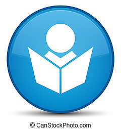 Elearning icon special cyan blue round button