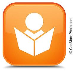 Elearning icon special orange square button