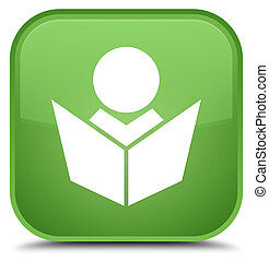 Elearning icon special soft green square button