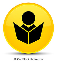 Elearning icon special yellow round button