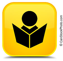 Elearning icon special yellow square button