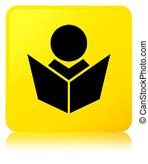 Elearning icon yellow square button
