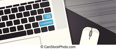 Elearning Key On Laptop Computer Keyboard Online Education Concept Horizontal Banner