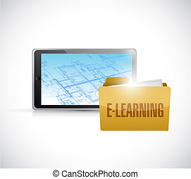 Elearning technology illustration design over a white ...