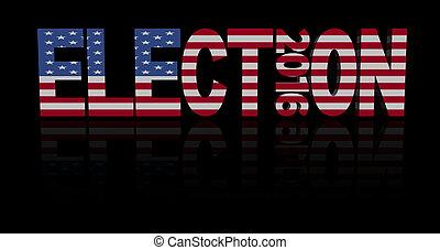 elección, 2016, con, bandera estadounidense, ilustración