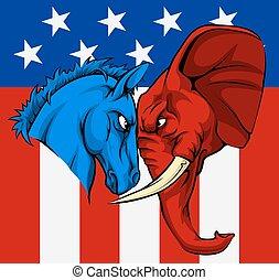 elección, burro, elefante, norteamericano, concepto