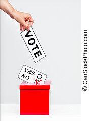 elección, concepto, con, urna electoral