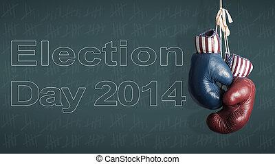 elección, día, 2014, -, republicanos, y, demócratas, en, el, campaña