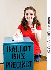 elección, -, joven, votante, thumbsup