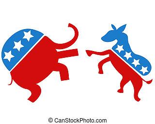 elección, luchador, demócrata, republicano, contra