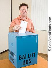 elección, macho, -, blanco, votante