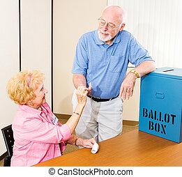 elección, pegatina, -, voted