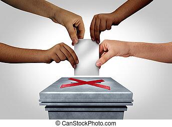 elección, supresión, votante