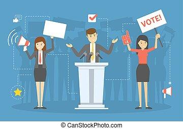 elección, voto, campaign., candidato, gente