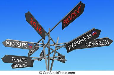 elecciones, 2016, conceptual, poste