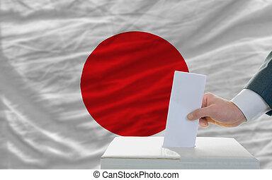 elecciones, bandera, frente, japón, votación, hombre
