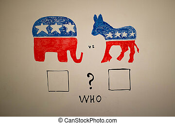elecciones, concepto, Republicanos, concurrente, contra, Demócratas, política