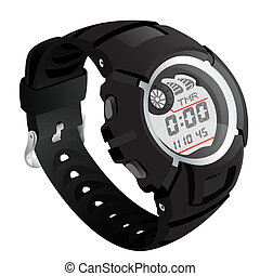 Electronical watch. EPS 10 vector sketch illustration with transparency.