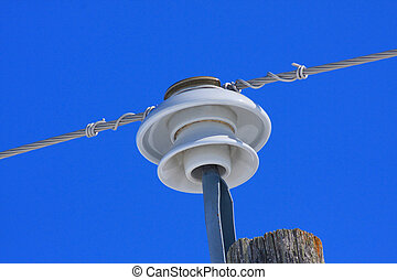 Insulator on a pole with electrical wire.