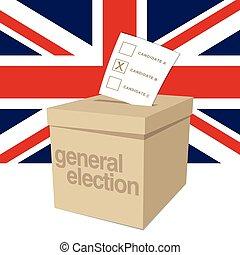 electio, generale, regno unito, scatola, scheda elettorale