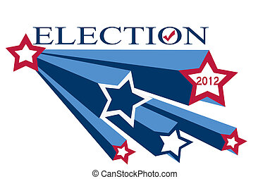 illustration of the word election 2012 with red white and blue shooting stars