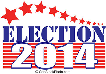 Vector illustration of Election 2014 with stars and stripes and red, white, and blue