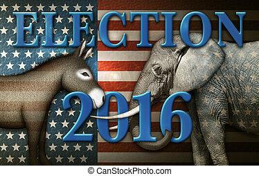 Election 2016 Donkey and Elephant