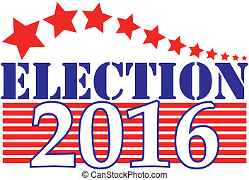Election 2016 Graphic - American election 2016 in red, white...