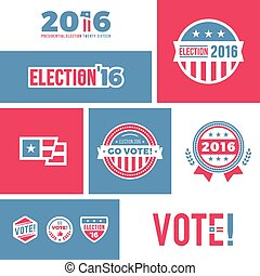 Election 2016 graphics - American election badges and vote...