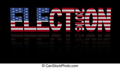 Election 2016 with American flag illustration