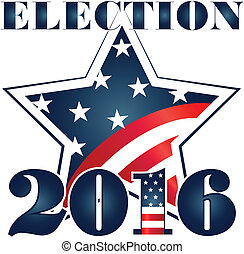 Election 2016 with USA Flag illustration. Vector icon symbol...
