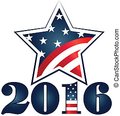 Election 2016 with USA Star Flag