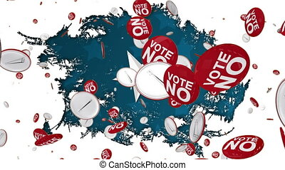 Animation of Vote No text on flying red badges with American flag white stars on white and blue background. Postal voting elections in Covid 19 pandemic concept digitally generated image.