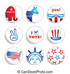 Election badges - USA election campaign badges isolated over...