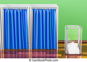 Election ballot box with polling booths in room on the...